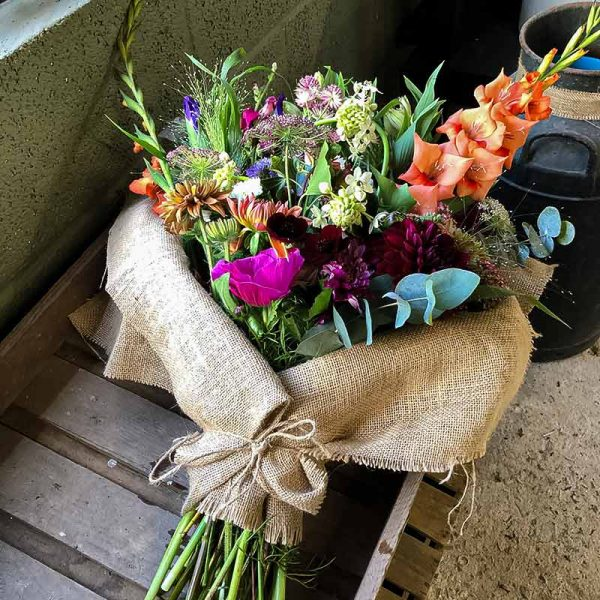 Mother's Day bouquet of flowers on wooden box
